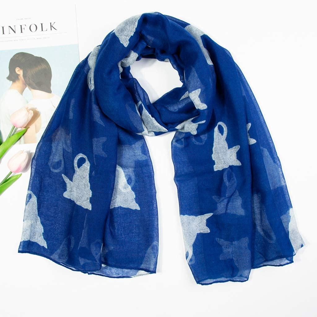 Fashion Shawl for Women, Zyqzw Cute Cat Print Neckerchief Scarves Long Scarfs Lightweight Sunscreen Wrap Shawls Bandanas