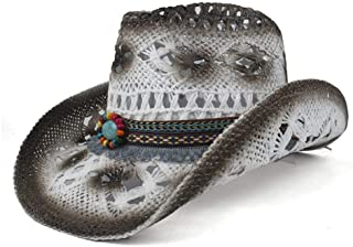 ZhangLeiaodaliya 2019 Weave Straw Women Men Hollow Western Cowboy Hat Lady Dad Sombrero Hombre Cowgirl Jazz Caps Bull Head Band (Color : White, Size : 56-58)