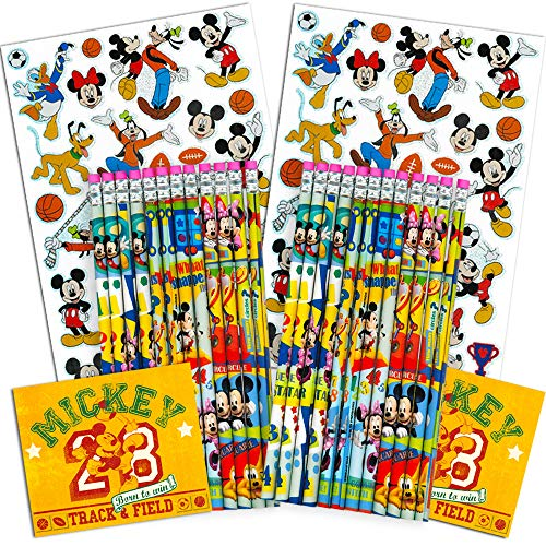 Disney Mickey Mouse Pencils Set - Pack of 24 Wood Pencils with Erasers and Stickers (Mickey Mouse School Supplies) (24 Pencil Set)