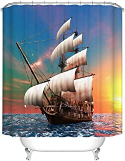 Fangkun Nautical Theme Shower Curtain Decor Set - Sailing Old Merchant Ship on Ocean Sailboats Cloudy Sky Over Sea Picture - Polyester Fabric Bath Curtains - 12 Hooks - 72 x 72 inches