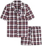 Latuza Men's Cotton Woven Short Sleepwear Pajama Set S Navy & Red