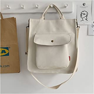 canvas bag Pure Color Casual Tote Portable College Girls Student Shoulder Bags Plain Female Handbag Simple Canvas Crossbod...