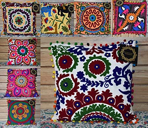 Rajbhoomi Wholesale Lot 10 Pc Indian Decor Suzani Cushion Cover Vintage Cotton Pillow Case