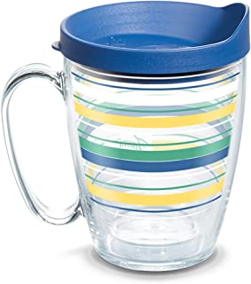 Tervis 1328261 Fiesta - Meadow Stripes Insulated Tumbler with Wrap and Blue Lid, 16oz Mug, Clear