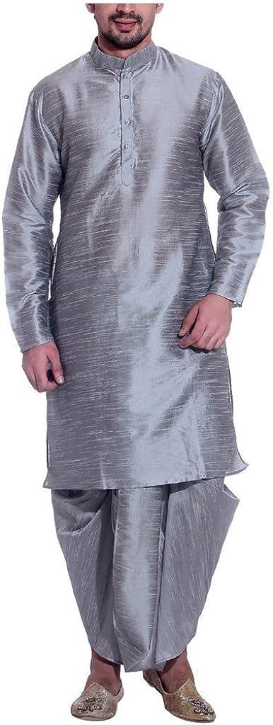 Cash special price Royal Men's Silk Award-winning store Blend Set_Silver Dhoti Kurta