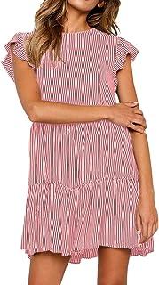 ReooLy Abito Manica Corta da Donna Fashion Summer Bow Tie