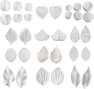 AK ART KITCHENWARE 16pairs Sugar Paste Flower Veining Molds Leaf Veiners Fontant Mold Cake Craft Tools (12 kinds of leaves)