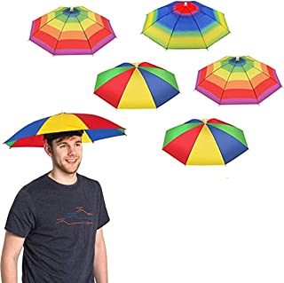 5 Pack Umbrella Hat With Head Strap, Funny Rainbow Colorful Waterproof Fishing Umbrella Beach Party Adjustable Size Fits F...