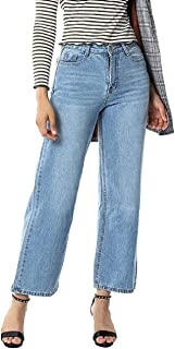 Tsmile Women Hight Waisted Long Pants Boyfriend Pockets Denim Jeans Stretch Loose Causal Cropped Wide Leg Pants