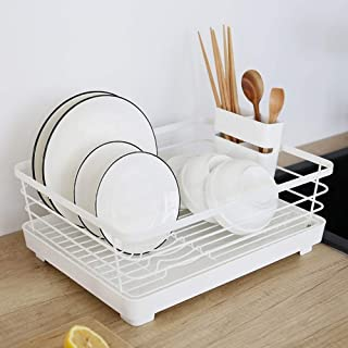 KOSGK Dish Drainers,Dish Rack with Large Storage Cutlery Holder Removable Dish Rack Tray Cup Glass Holder for Kitchen Sink 1/2 Tier (Size : Single)
