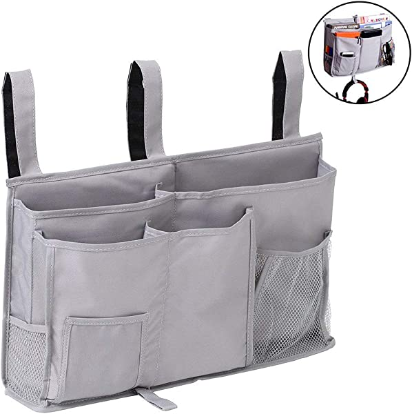 Pocket Bedside Big Hanging Storage Bag Organizer 8 Pockets For Books Phones Tablets Accessory And TV Remote Multifunctional Caddy Grey