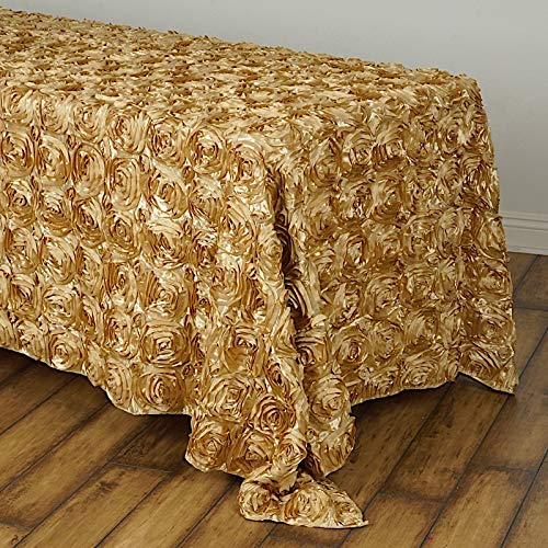 BalsaCircle 90x132 Champagne Satin Raised Rosettes Rectangle Tablecloth Wedding Party Dining Room Table Linens