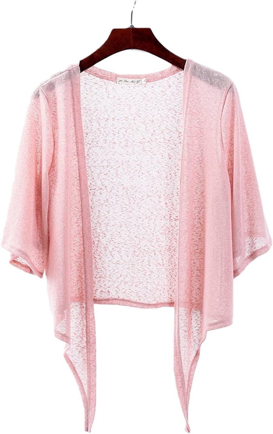 PEHMEA Women's Open Front Cardigan Casual Half Flare Sleeve Tie Front Bolero Shrug(Pink,x-Large)