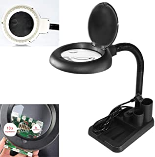 LED Magnifying Glass with Light, 5 X 10X Magnifier and Table & Desk Lamp for Close Work