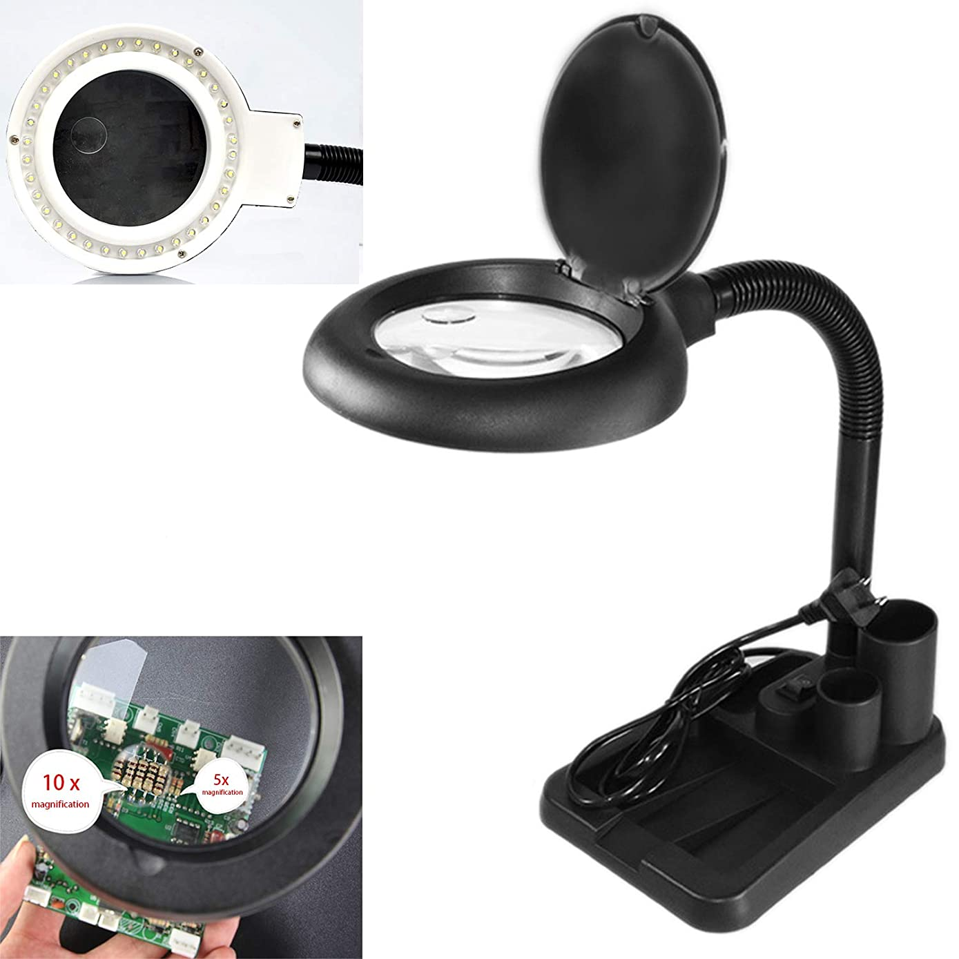 LED Magnifying Lamp, 5 X 10X Magnifier and Table & Desk Lamp, Portable Adjustable Magnifying Glass for Reading, Repair, Crafts, Sewing
