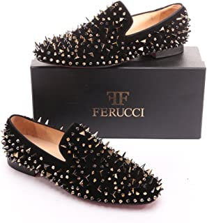 FERUCCI Men Black Velvet Slippers Loafers Flat with Gold Spikes