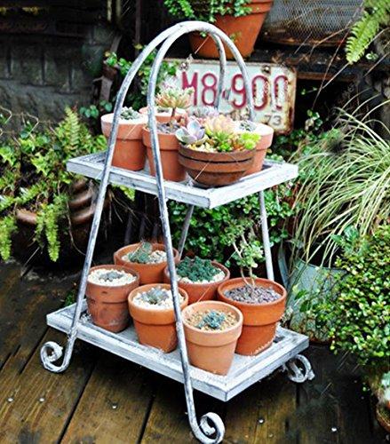 ZENGAI Plante de pot de fleurs Pot de fleur rétro Plateau en pot en bois massif Porte-gobelets à fleurs Porte-étagères