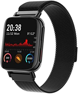 Gymqian Smart Watch Bluetooth Music Player Deportes Pedómetro Pulsera Inforión de Llamadas Recordatorio Ip67 Impermeable clásico/Steel/black