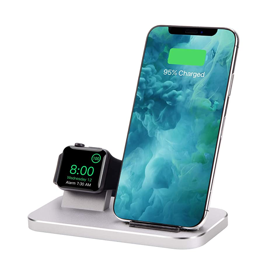 Qi ワイヤレス充電器,急速 2 in 1 アルミ合金充電スタンド,のために適した Apple Watch 4/3/2/1/iPhone Xs/iPhone Xs Max/iPhone XR/iphone 8/ iphone 8 Plus/iPhone X他Qi対応機種 (銀)