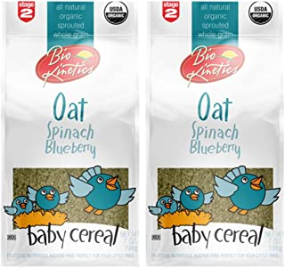 Organic Oat/spinach/Blueberry baby cereal made with sprouted whole grain stage 2-7oz(198 g) 2 pack