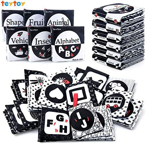 teytoy My First Soft Book 6 PCS Nontoxic Fabric Baby Cloth Activity Crinkle Soft Black and White product image
