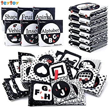 teytoy My First Soft Book 6 PCS Nontoxic Fabric Baby Cloth Activity Crinkle Soft Black and White Books for Infants Boys and Girls Early Educational Toys Perfect for Baby Shower
