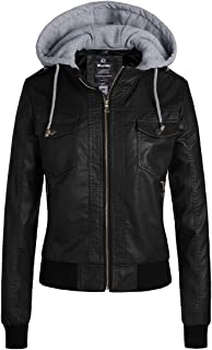 Womens Faux Leather Jacket Short PU Jacket with Removable Hood