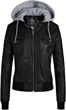 Wantdo Womens Faux Leather Jacket Short PU Jacket with Removable Hood