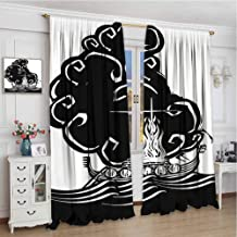 zojihouse Nordic Abstract Artwork of a Viking Chief Being Burned on a Longboat Norse Mythology Blackout Window Curtain Black and White Home Decoration Thermal Insulated w72xL96