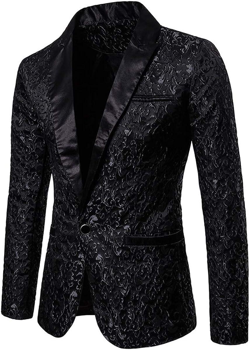 Evaliana Men Peak Lapel Jacquard Slim Fit Tuxedo Blazer Suit Formal Party Jacket Single Breasted