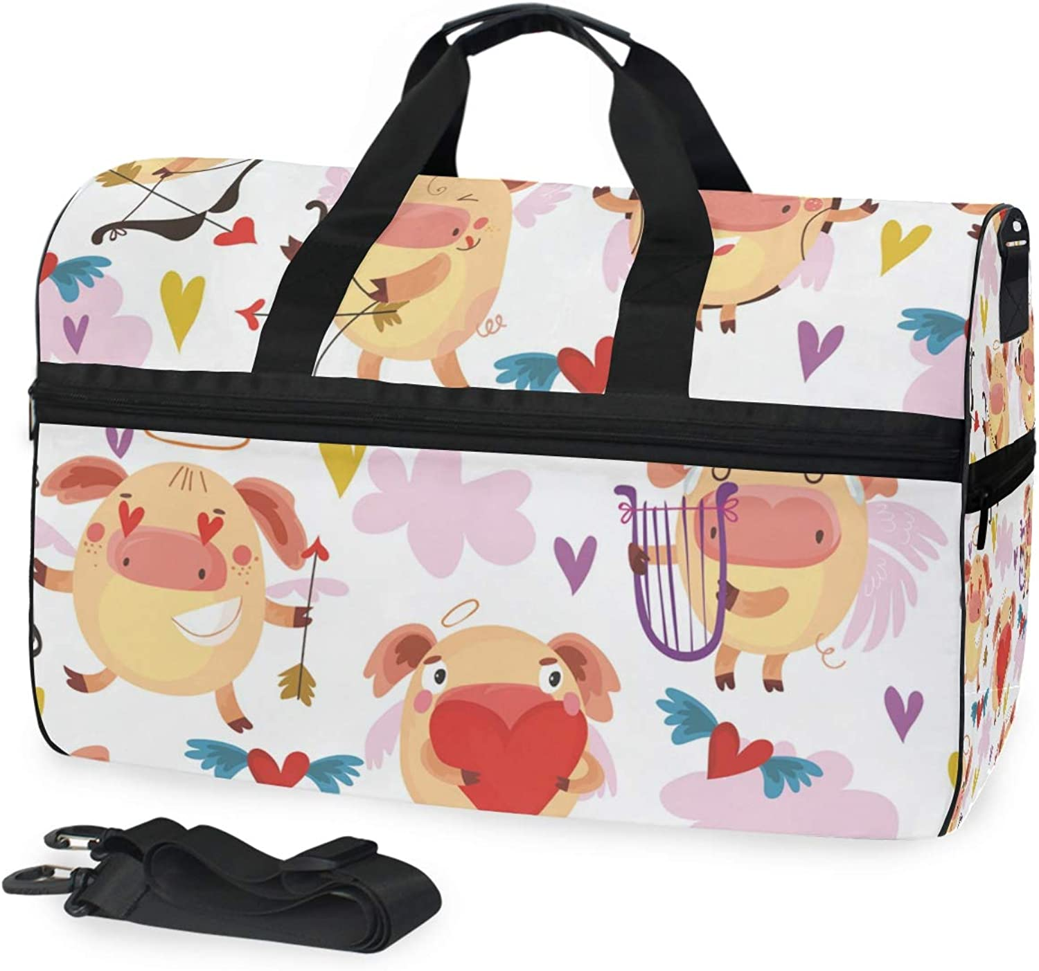 DEZIRO 45L Travel Duffel Bag Cartoon Animal Pig Large Weekender Bag with shoes Compartment