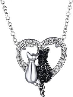 Feilok - Collana con ciondolo a forma di animale, a forma di gatto in bianco e nero, con ciondolo a forma di cuore, per am...