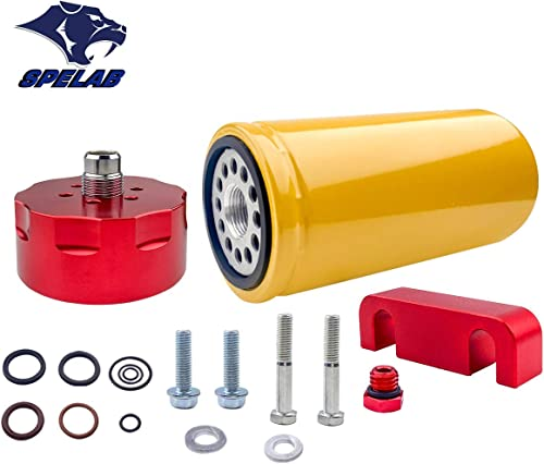popular SPELAB 1R-0750 Diesel high quality Fuel Filter & Adapter Kit for discount 2001-2016 Chevy GMC Duramax LB7/LLY/LBZ/LMM/LML in Red outlet sale