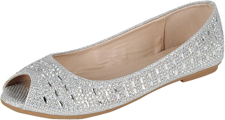 Cambridge Select Women's Peep Toe Glitter Crystal Rhinestone Slip-On Ballet Flat