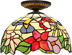 Tiffany Ceiling Fixture Lamp Semi Flush Mount 12 Inch Bird and Flower Stained Glass Lampshade for Dinner Room Living Room ...