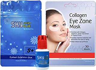 Eyelash Extension Glue SKY S+ Extra Powerful Strong Black Adhesive by AmberCity/Collagen Eye Mask Collagen Pads 30 Sheets by AmberCity (2 SET)