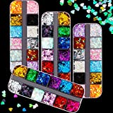 48 Grids 3D Heart Nail Sequins Nail Art Glitter Decals Laser Heart Nail Sequins Colorful Shinny Nail Flakes for Women Girl DIY Nail Salons Decoration