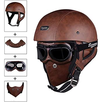 DOT Motorcycle Leather Helmet Open Face w//Face Mask Cruiser Street Bike Scooter