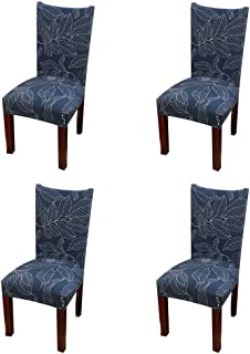 Jiuhong Stretch Removable Washable Short Dining Chair Protector Cover Slipcover, Style 24, 4 Pack