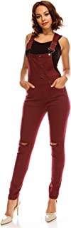 TwiinSisters Women's Distressed Stretch Twill Overalls...