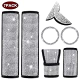 igingko 7PCS Bling Car Accessories for Women, Including 1 Steering Wheel Logo Decal for Nissan, 2 Bling Ring Emblem Stickers, 2 Bling Seat Belt Covers, 1 Bling Gear Shift Cover, 1 Handbrake Cover