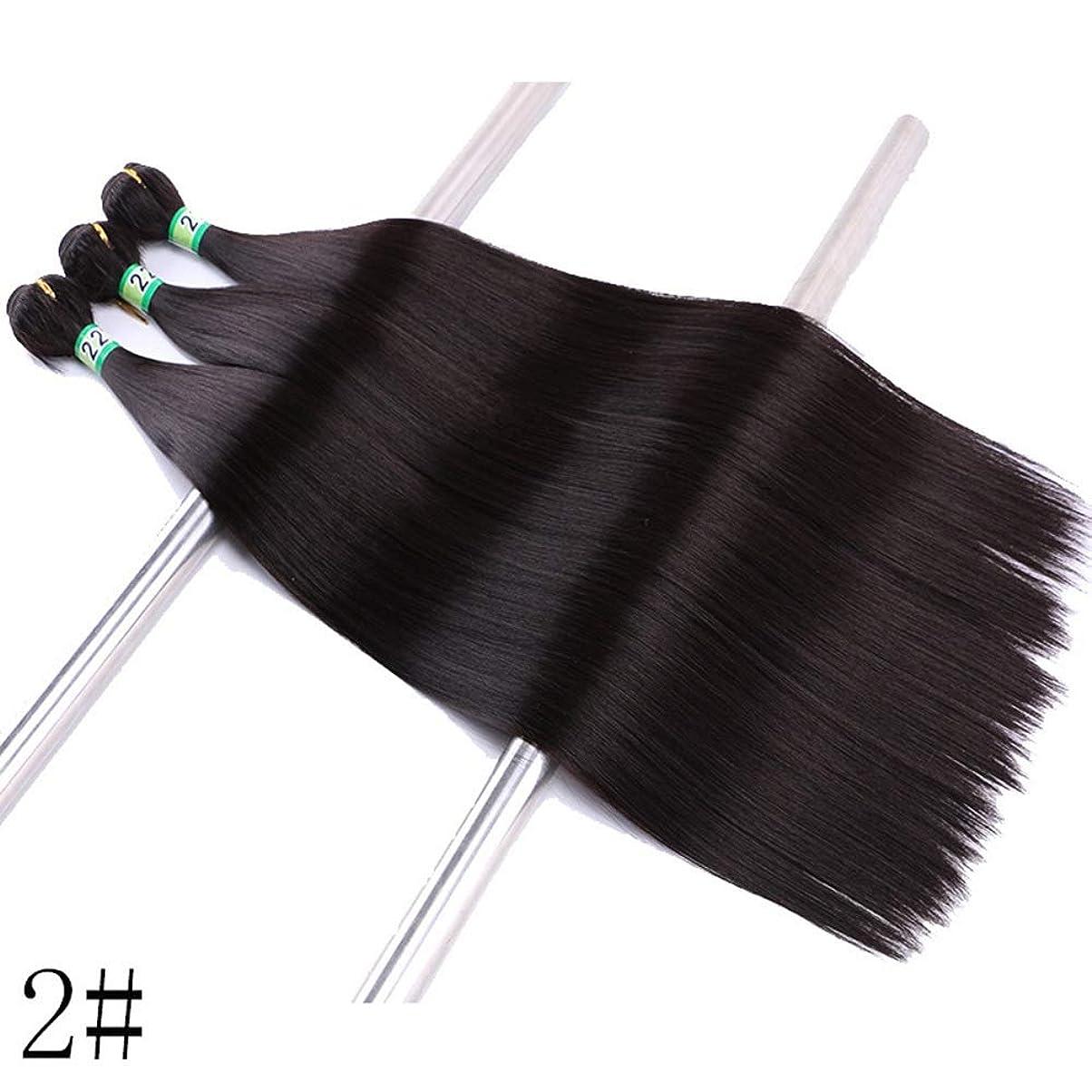ロック無傷気難しいBOBIDYEE 合成髪織り3バンドルヘアエクステンション - ストレートヘア - ナチュラルブラック(2#、100g)合成髪レースかつらロールプレイングかつら長くて短い女性自然 (色 : Photo color, サイズ : 18inch)