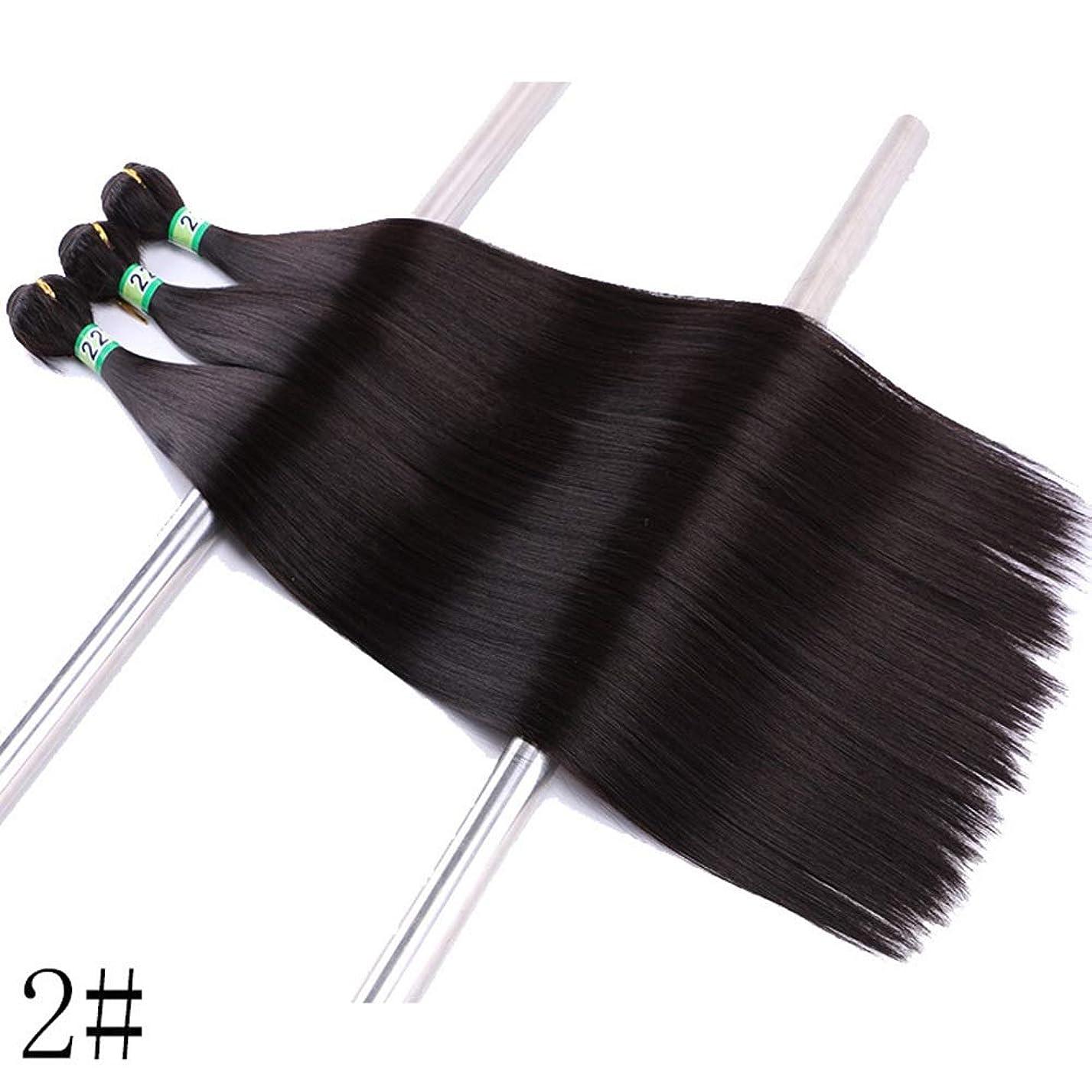 麻酔薬気づかない混雑BOBIDYEE 合成髪織り3バンドルヘアエクステンション - ストレートヘア - ナチュラルブラック(2#、100g)合成髪レースかつらロールプレイングかつら長くて短い女性自然 (色 : Photo color, サイズ : 18inch)