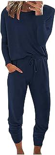 Trainingspak voor dames, met lange mouwen, ronde hals, tweedelig huispak, joggingpak, sportpak, sweatpak, broek met zakke...