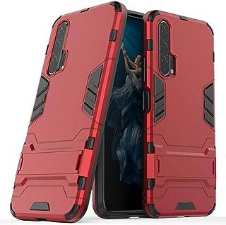 MaiJin 対応 ファーウェイ Huawei Honor 20 Pro (6.26インチ) 保護カバー 2イン1 デュアル ハイブリッド ブラケット機能 耐衝撃ケース (赤)