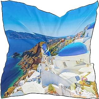 """Unimagic Women Scarf Greece Santorini Pattern Square Scarf Soft Head Scarf 23.6""""x23.6"""" Neckerchief Kerchief with 10xBobby ..."""