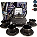 """KIYOSHI Luxury 11PC Japanese Tea Set.""""Black and Gold"""" Cast Iron Tea Pot with 4 Tea Cups, 4 Saucers, Loose Leaf Tea Infuser and Teapot Trivet. Ceremonial Matcha Accessories and Iron Anniversary Gifts"""