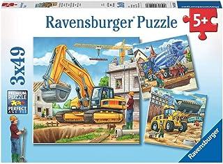 Ravensburger- 3 Puzzles de 49 Pièces Grands Véhicules de Construction Puzzle Enfant, 4005556092260, Néant