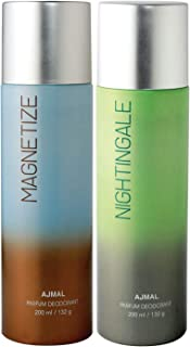 Ajmal Magnetize & Nightingale Deodorant Combo pack of 2 Deodorants 200 ml each (Total 400ML) for Men & Women + 2 Parfum Te...