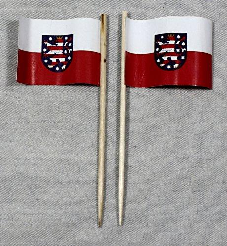 Buddel-Bini Party-Picker Flagge Thüringen Papierfähnchen in Profiqualität 50 Stück 8 cm Offsetdruck Riesenauswahl aus eigener Herstellung